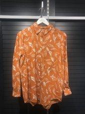 Pamuklu Yaprak Desenli Turuncu Gömlek XSG3124-9