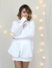 Güpürlü Pamuklu Salaş Beyaz Gömlek XTG3219-3