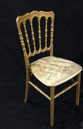 Napolyon Plastik Altın Renk Sandalye 4 Lü Set