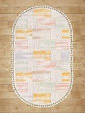 Karışık Renkli Pembe, Sarı, Mavi Oval Halı - HS96007EO-2