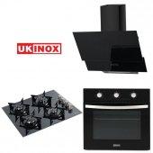 Ukinox Siyah 3 Lü Cam Ankastre Set 01 Crown...