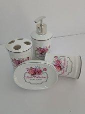 4lü Porselen Pembe Çiçekli Sıvı Sabunluk Diş Fırçalık Banyo Seti-2