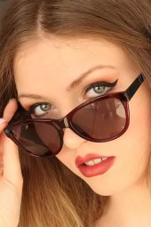 Bordo Renk Çerçeveli Clariss Marka Bayan Güneş Gözlüğü-2