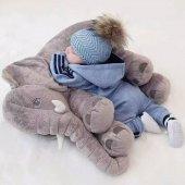Uyku Arkadaşım Fil 65cm - Peluş Toy Elephant - Büyük Yumuşak FİL-4