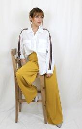 Pamuklu Kolları Şeritli Beyaz Gömlek XSG3118-2
