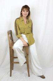Pamuklu Kolları Şeritli Beyaz Gömlek XSG3118-6