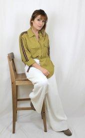 Pamuklu Kolları Şeritli Beyaz Gömlek XSG3118-7