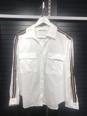 Pamuklu Kolları Şeritli Beyaz Gömlek XSG3118-9