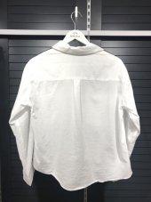 Pamuklu Kolları Şeritli Beyaz Gömlek XSG3118-11