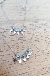 Mavi Zirkon Taşlı Yıldız Gümüş Kolye
