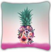 Iç Dolgulu Ananas Desenlı Kırlent Yastık