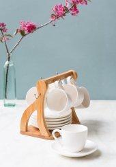 V Şeklinde Bambu 6' Lı Kahve Takımı