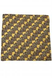 Sarı Motif Baskılı İpek Mendil SPS333-2
