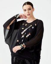 Gala Xi Büyük Beden Pul Detaylı Şifon Bluz 2406 Siyah