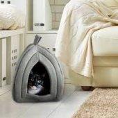 2 ADET Polar Kedi Yuvası Evi Köpek Yatağı Kulübesi Minder Polar Kulübe Pet İçin Yatak ve Minder-5