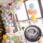 Makaron Balonlu Zincir Balon Seti 3 Metre Balon Zincir
