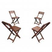 Bistro Ahşap 4lü Bahçe Balkon Sandalye Seti (4 Adet Sandalye)