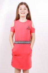 Kız Çocuk Göğsü Baskılı Cepli Elbise