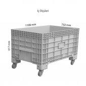 K 550 T Büyük Ebatlı Kapalı Tekerlikli Plastik Kasa Gri