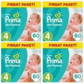 Prima Bebek Bezi 4 Beden 60 Lı 4 Paket Toplam 240 Adet Fırsat Pak