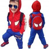 Örümcek Adam Çantalı Kapşonlu Erkek Çocuk Eşofman Takımı