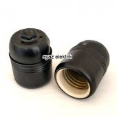 Dekoratif E27 Siyah Metal Porselen Duy, Standart A...