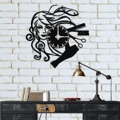Hair Dresser Metal Duvar Saati
