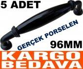 5 Adet 96mm Gerçek Porselen Kulp Mat Siyah...