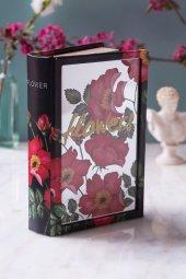 Kırmızı Çiçekli Kitap Şeklinde Aynalı Kutu