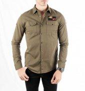 DeepSEA Kolları ve Önü Armalı Çıtçıtlı Spor Kanvas Erkek Gömlek 1-12