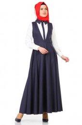 Veteks Line Mevsimlik Bahçıvan Elbise 7062 Lacivert