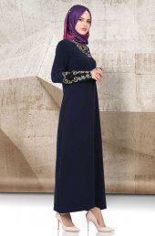 Yonga Gold Nakışlı Elbise 769 Lacivert