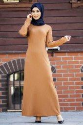 Yuvarlak Yaka Fitilli Elbise TP-2515 Taba