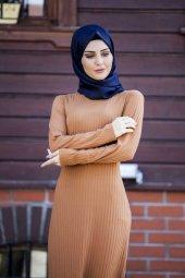 Yuvarlak Yaka Fitilli Elbise TP-2515 Taba-4
