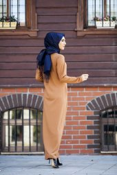 Yuvarlak Yaka Fitilli Elbise TP-2515 Taba-5