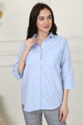 Benekli Yarım Kol Gömlek 01 1046 Mavi