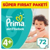 Prima Aktif Bebek Bezi 4+ Beden Maxi Plus Süper Fırsat Paketi 72 Adet