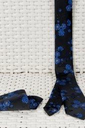 DeepSEA Çiçek Desenli Mendilli İnce Kravat 1901715-5