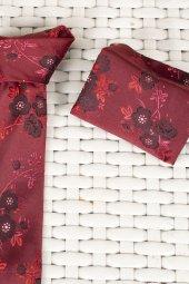 DeepSEA Çiçek Desenli Mendilli İnce Kravat 1901715-3