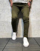 Yeni Sezon Erkek Dar Kesim Slimfit Likralı Rahat Yırtık Desen Günlük Kot Pantolon Grj Haki