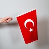 Türk Bayrağı 30x45 Cm Raşel Kumaş Sopalı 5 Adet