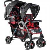 Babyhope İkiz Bebek Arabası Kırmızı Siyah P 738