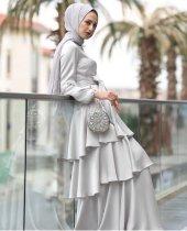 Gri abiye elbise GRİ - 38-2