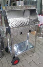 Kömürlü Mangal Paslanmaz Krom 30x50 Davlumbazlı Bacalı Mangal