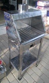 Kömürlü Mangal Paslanmaz Krom 30x40 Davlumbazlı Portatif Ayaklı