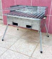 Paslanmaz Kömürlü Mangal 28x50 Çift Izgaralı Portatif Ayaklı
