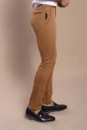 Yan Cepli Taba Pamuk Pantolon | Wessi-3