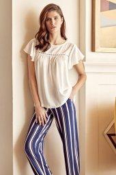Anıl 9591 Kadın Pijama Pamuklu Çizgi Deseli Üst Pantolon Takım-2