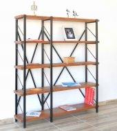 Metal Ahşap Kitaplık Seti Ofis Büro Raf K312