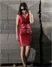 Kim Kırmızı Deri Elbise